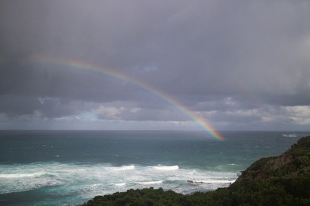 Rainbow over the sea in the Great Otway National Park