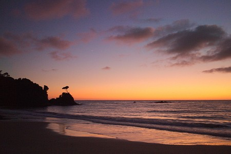 Sunrise at Bungaree Hut on the North West Circuit of Stewart Island